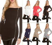 Trendy Koucla  Strick Pulli Longpullover Pullover Sweater mit seitlichem Zip