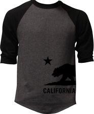 Men's Cali Flag Bottom Charcoal Baseball Raglan T Shirt California West Tee V124