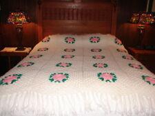 Pink Flower Designed  Handcrafted Crochet Afghan Throw Blanket  ~ handmade