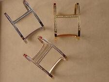 cz stone embedded h bracelet cuff wrist bangle stainless steel