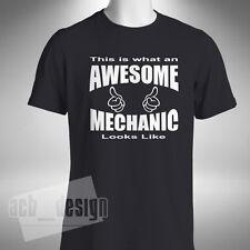 Awesome Mechanic Mens T-Shirt Funny Lorry Car Scania V8 Technician Garage Bike
