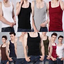 Homme Haut T-shirts Fad Uni Débardeur Muscle Caraco Sans manche Coton T-shirt
