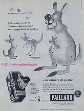 PUBLICITE CAMERA DE POCHE B8 PAILLARD BOLEX KANGOUROU DE 1958 FRENCH AD ANIMAL