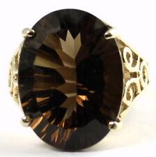 • R049-14, 16x12mm, 12ct, Smoky Quartz, 14k Yellow Gold Ladies Ring - Handmade