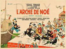 REPRO DECO AFFICHE CINE ARCHE NOE 1947 BRASSEUR LORYS SUR PANNEAU MURAL BOIS HDF