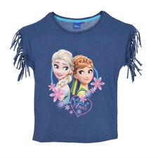 DISNEY t-shirt LA REINE DES NEIGES 4 5 6 ou 8 ans bleu franges épaules NEUF