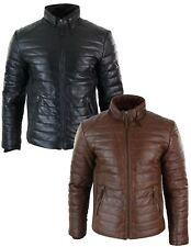 Veste doudoune homme cuir véritable fermeture éclair couleur marron ou noir