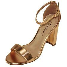 Breckelle's Women's Adjustable Ankle Strap Block High Heel Sandals