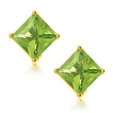 Peridot Square Princess Cut CZ Yellow Plated Sterling Silver Stud Earrings