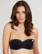 Huit Retro Riviera Padded Strapless Bikini Top Black Bandeau Button V Sizes NEW