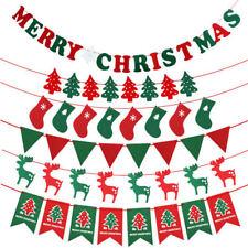 MERRY CHRISTMAS BUNTING BANNER HANGING FLAG XMAS PARTY DECORATION SANTA UK STOCK
