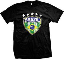 Brazil Brasil Soccer Football Shield Stars Emblem Flag Futbol Match Mens T-shirt