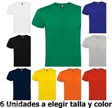 Camiseta manga corta hombre. 100% algodón. 6 Unidades a Elegir colores y tallas