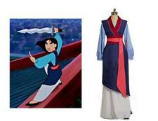 Costume Mulan blu abito completo vestito carnevale per adulti da samurai donna