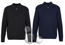 Mens Merino Wool 1/2 Zip Pullover Size XS S M L XL 2XL 3XL 5XL Jumper Business