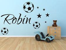 Wandtattoo Aufkleber Name Wunschname Fußball Fußbälle Sterne Kinder Tür wu085