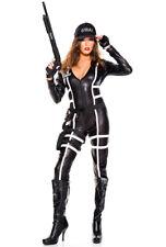 Womens black police long sleeve bodysuit costume