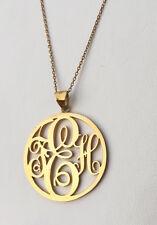 Fatto a mano personalizzato ROUND Monogram necklace-name COLLANA, 18 k Placcato Oro