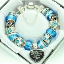 Personalised Gifts ENGRAVED Jewellery For Women Aqua Blue Bracelet FREEPOST