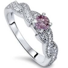 3/8ct Pink Diamond Infinity Vintage Engagement Ring 14K White Gold