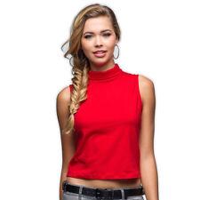Maglia con colletto basso DONNA T-Shirt senza maniche Col. FRAGOLA moderna  BASIC fa006f3a071