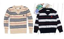 Boys designer v-neck 100% cotton stripe long sleeve jumper size 1,2,3,4,5