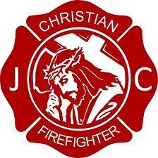 Cross Jesus Christ Firefighter Christian Fireman Car Truck Window Vinyl Decal