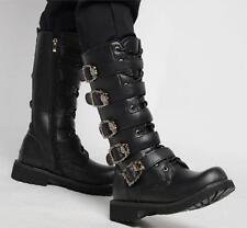 Stylish Military Combat Riding Mid Calf Mens Black Punk Rock Boots Shoes A417