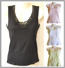New 1x Cotton Ladies Singlet Sleeveless Lace Motif Design Black White Pink Green