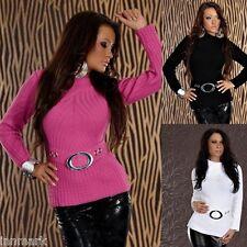 Women's Warm Fine Knit Polo Neck Jumper Long Sleeve Sweater Wait Jumper / 639