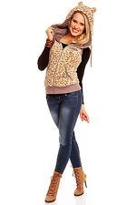 Ladies Fleece Top Animal Print Waistcoat Jacket Sleeveless Hoodie UK 8 10 12 14