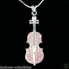 w Swarovski Crystal MUSIC Fiddle ~Pink VIOLIN VIOLA CELLO Pendant Chain Necklace