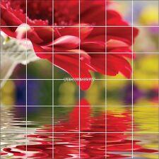 Stickers carrelage mural déco Fleur rouge 1954
