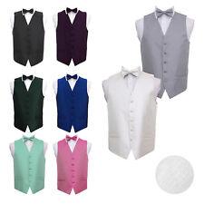 "DQT Premium Greek Key Men's Wedding Waistcoat Vest & Bow Tie Set 36""-50"" (S-5XL)"