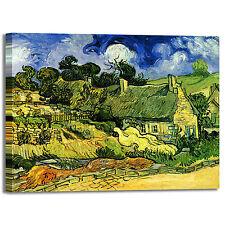 Van Gogh casolari con tetto di paglia quadro stampa tela dipinto telaio arredo