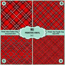 X-mas Tartan Plaid Pattern Printed HTV,Adhesive Vinyl-161