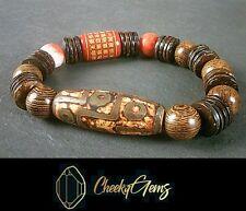 Natural Gemstone Wood Men's Women's Elasticated bracelet Beads Mantra Buddhism