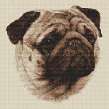 "Pug Dog Cross Stitch Design (Sepia,10""x10"",25x25cm,kit or chart)"