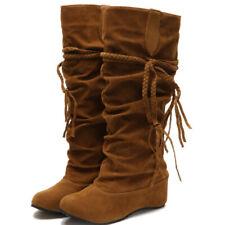 Damen Schlupf Stiefeletten Flache Stiefel Winterstiefel Boots Schuhe Damenschuhe