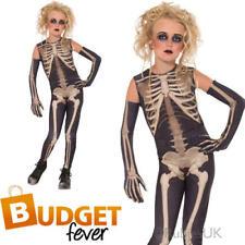 Kids Skellee Girl Halloween Fancy Dress Skeleton Horror Childs Costume Outfit