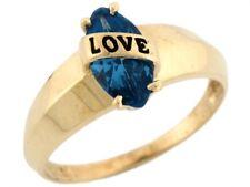 10k Gold Enamel Love Simulated Blue Zircon December Birthstone Ring