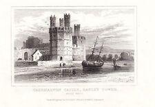 1840 Vittoriano Stampa ~ caernarvon Castello ~ Eagle'S TOWER ~ Galles Settentrionale
