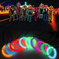 5M/3M/2M/1M LED Lights Glow EL Wire Party Strip Rope 4 Controller 5V/12V/3V