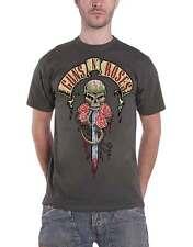 Guns N Roses T Shirt Dripping Dagger Banner Band Logo Official Mens New Charcoal