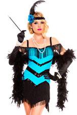 Music legs blue fringe roaring 20s flapper costume