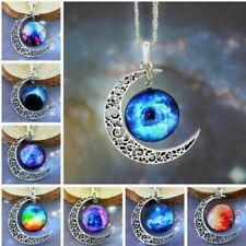 Stylish Women Men Galaxy Universe Crescent Moon Glass Cabochon Pendant Necklace