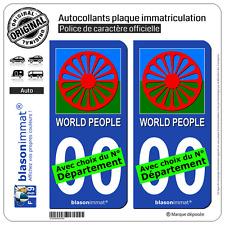 2 Stickers autocollant plaque immatriculation Auto : Romani People Roue Drapée
