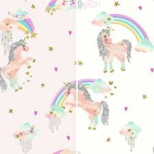 Arthouse Arcoiris unicornio Estampado Papel pintado para niños con purpurina
