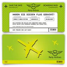 Save the Date Karten zur Hochzeit - Flugticket Motiv in Grün