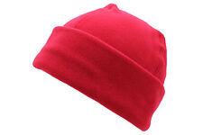 Unisex Red Polar Fleece Winter Ski Bob Hat Warm Cuffed Beanie